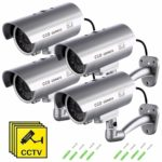 Fake Security Camera with Illuminating LEDs Bullet Dummy Fake Surveillance CCTV Decoy Realistic Look Surveillance System Indoor/Outdoor Waterproof For Businesses