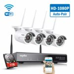 SANNCE Wireless Security System 8CH 1080P CCTV NVR and 4X 2.0MP Enhanced Signal Outdoor WiFi IP Cameras