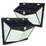 208 LED Solar Lights Outdoor Waterproof 270° Wide Angle Motion Sensor Security Lights 2200mAh Solar Wall Lights with 3 Lighting Modes for Garden Yard Wall - Pack of 2