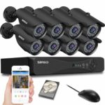 [1080p HD Output] SANSCO 8-CH 1080P DVR CCTV Security System with 8x Outdoor Cameras + 2TB Hard Drive Disk (1920X1080 Mega-Pixel
