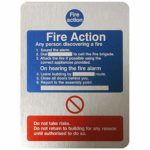 Fire Action: Any Person Discovering A Fire Sign 150mm x 200mm (1 x Brushed Aluminium Effect Sign)