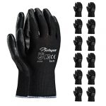SAFEYEAR 12 Pairs Black PU Coated Safety Work Protective Gloves